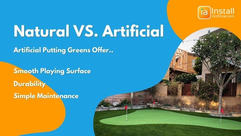 natural grass versus artificial putting green turf